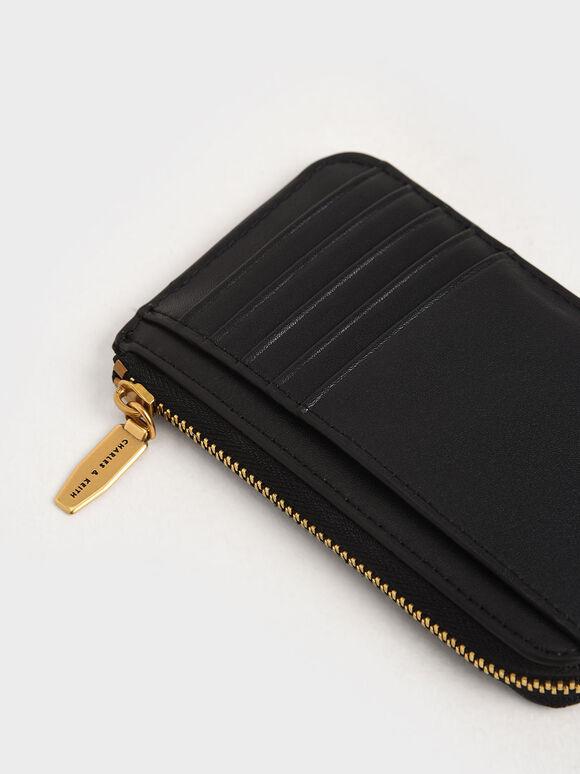 Top Zip Card Holder, Black, hi-res