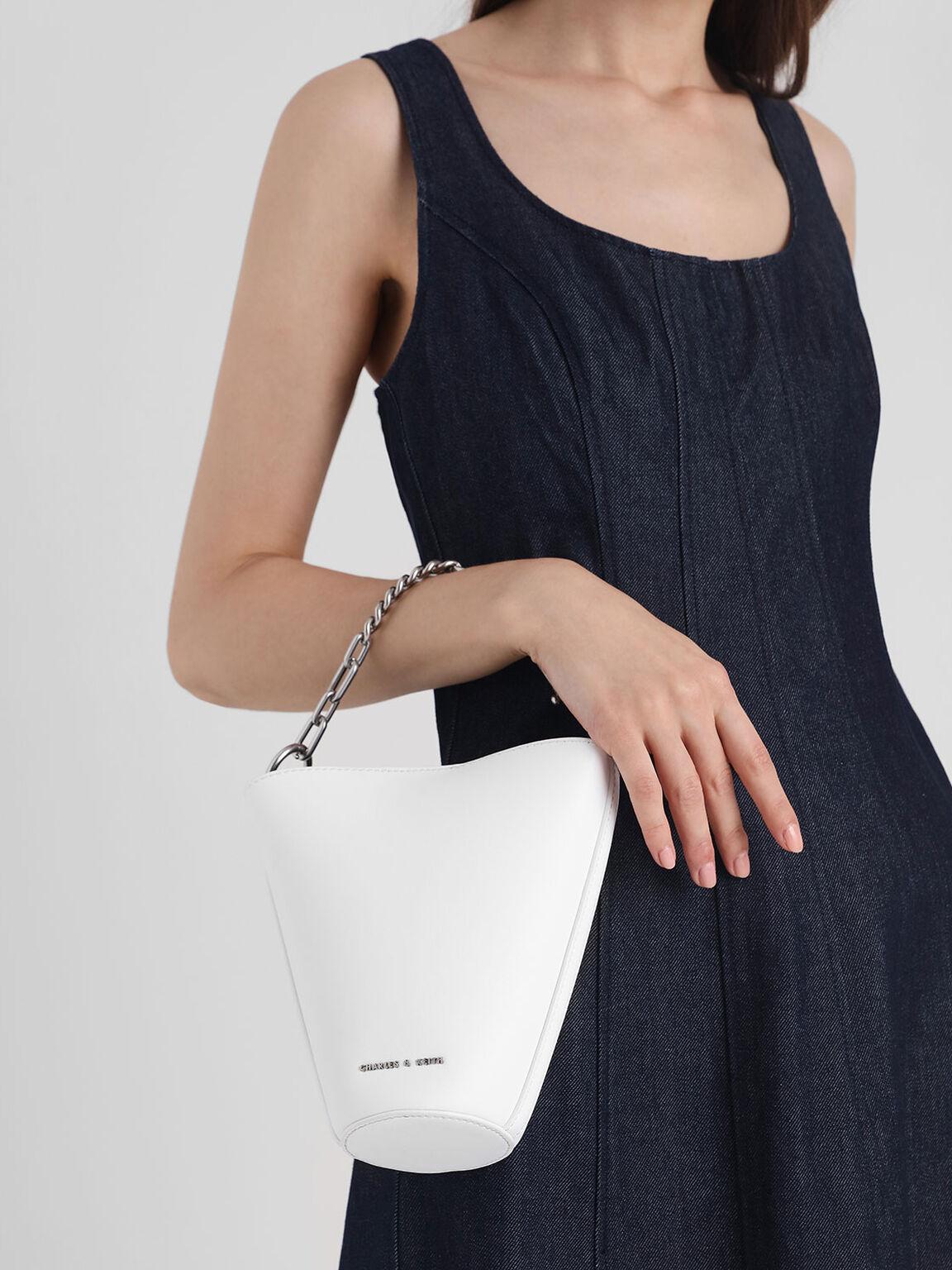Mini Slanted Bucket Bag, White, hi-res