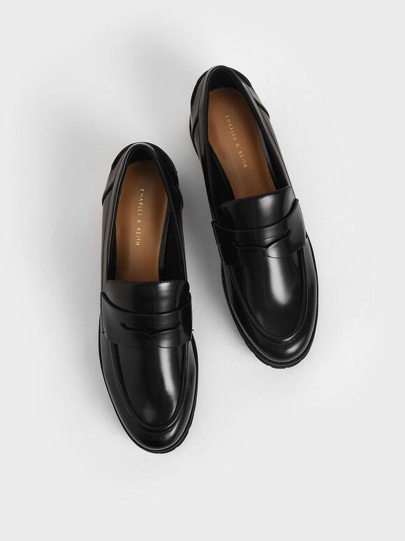 Platform Penny Loafers, Black, hi-res