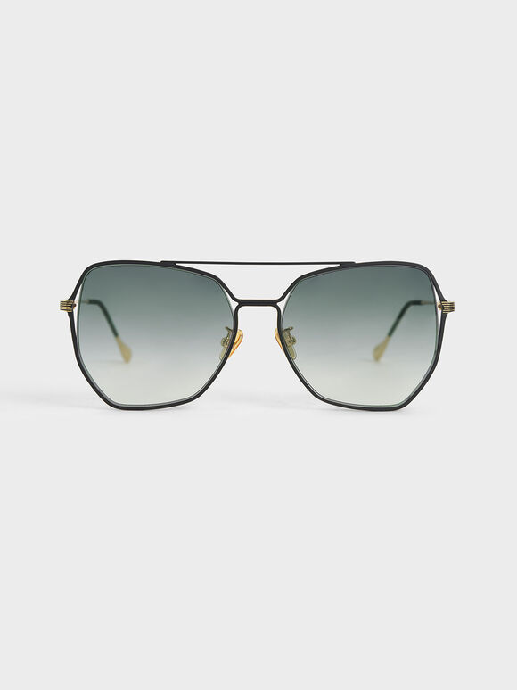 Tinted Butterfly Sunglasses, Black, hi-res