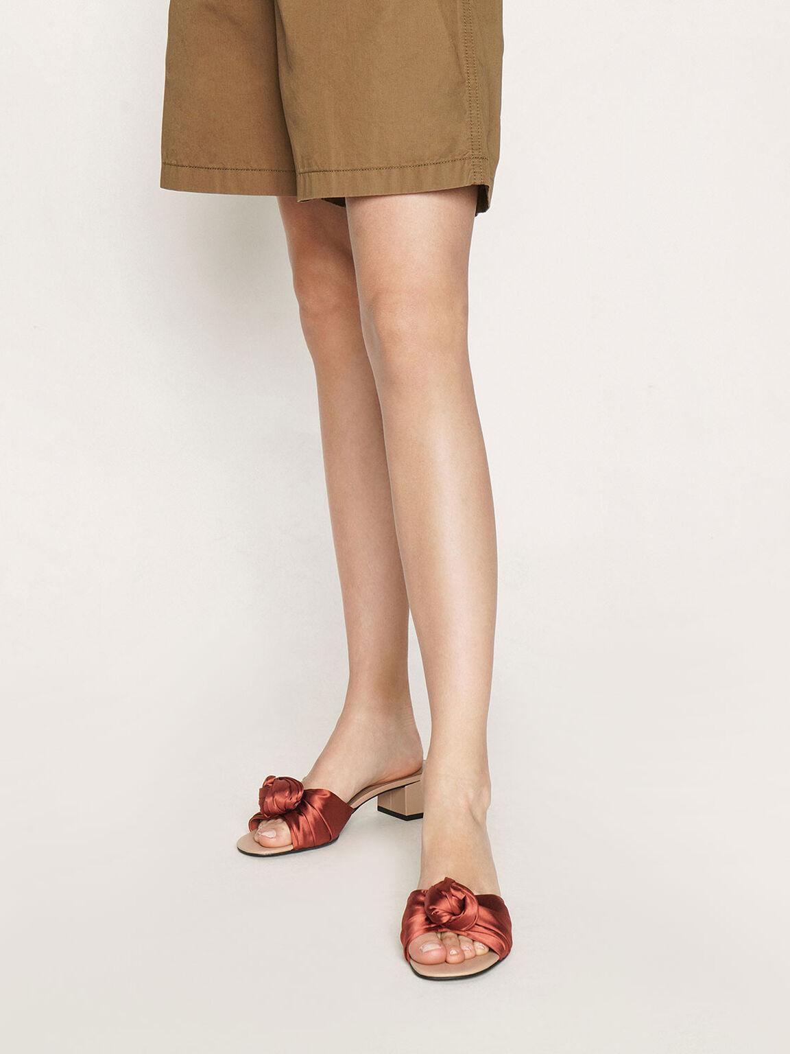 Jacquard Front Knot Slide Sandals, Orange, hi-res
