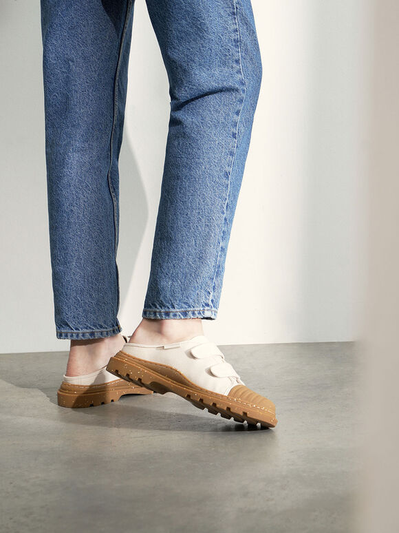 Purpose Collection - Velcro Strap Sneaker Mules, Cream, hi-res