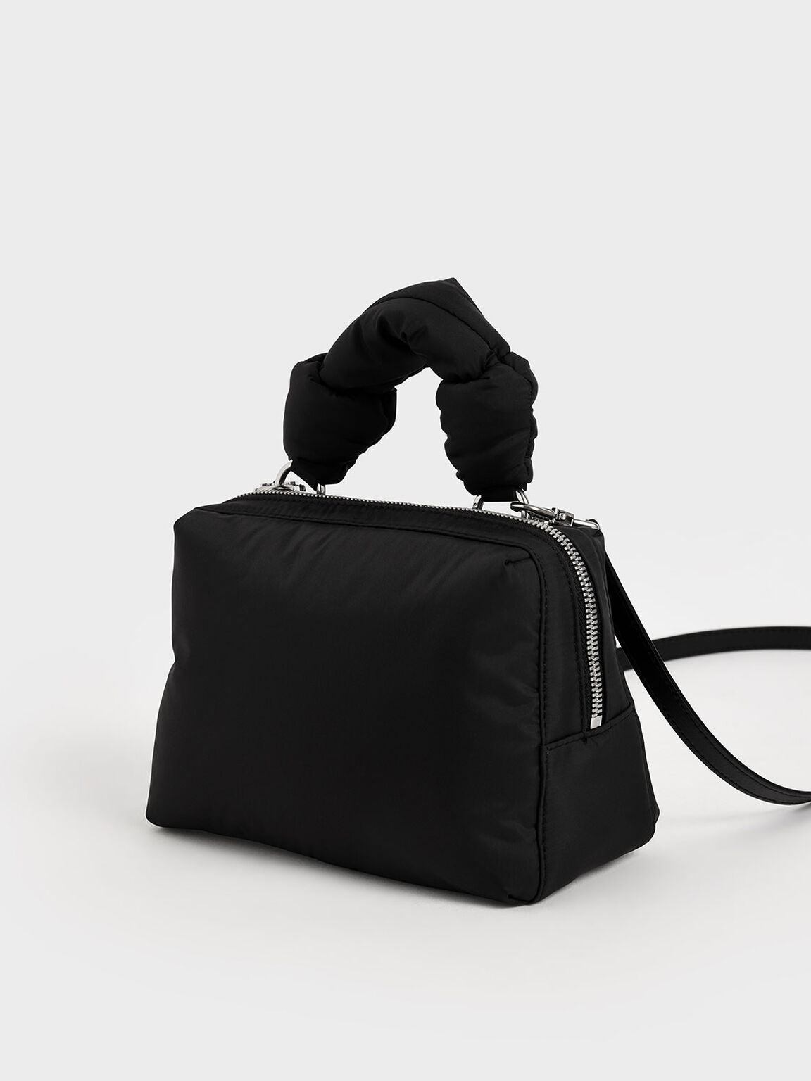 Knotted Boxy Bag, Black, hi-res