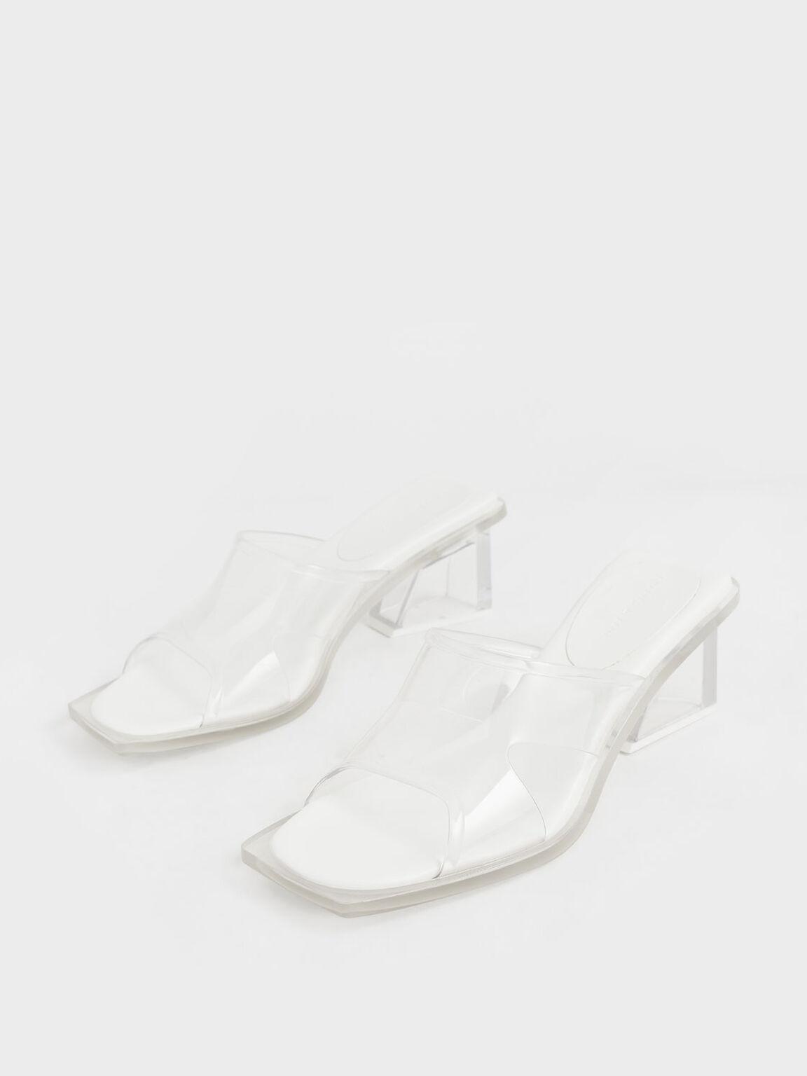 Acrylic Heel Mules, White, hi-res