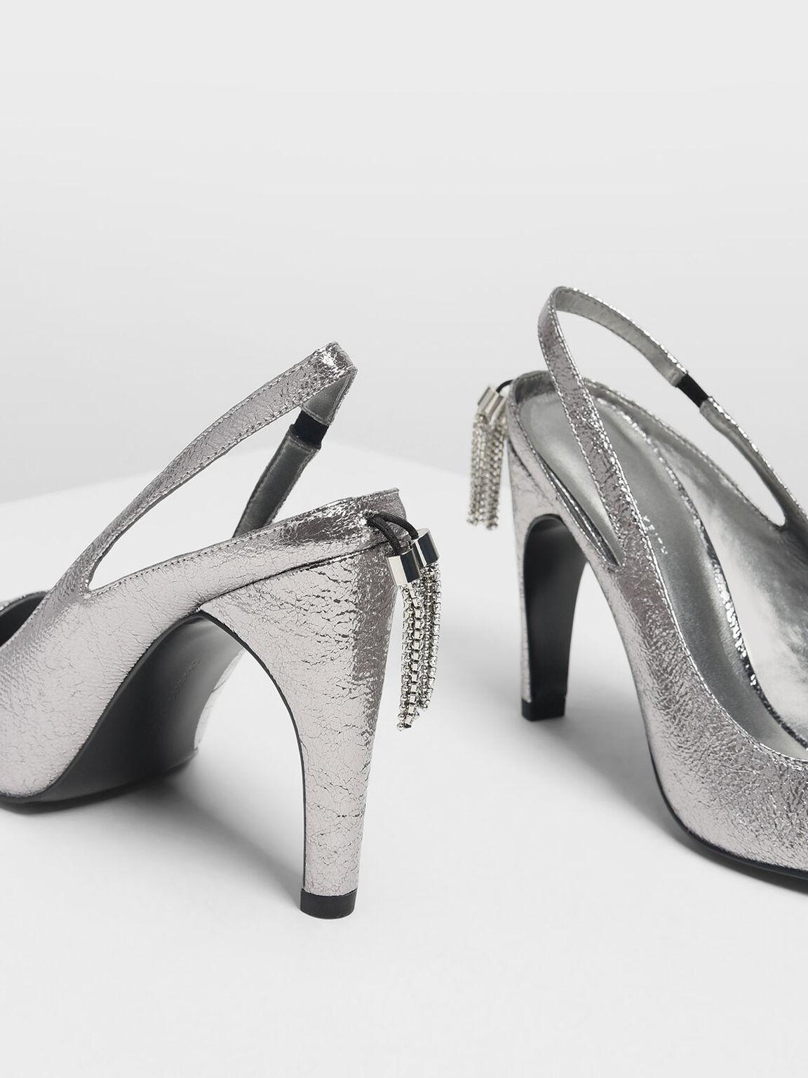 Embellished Tassel Slingback Heels, Pewter, hi-res