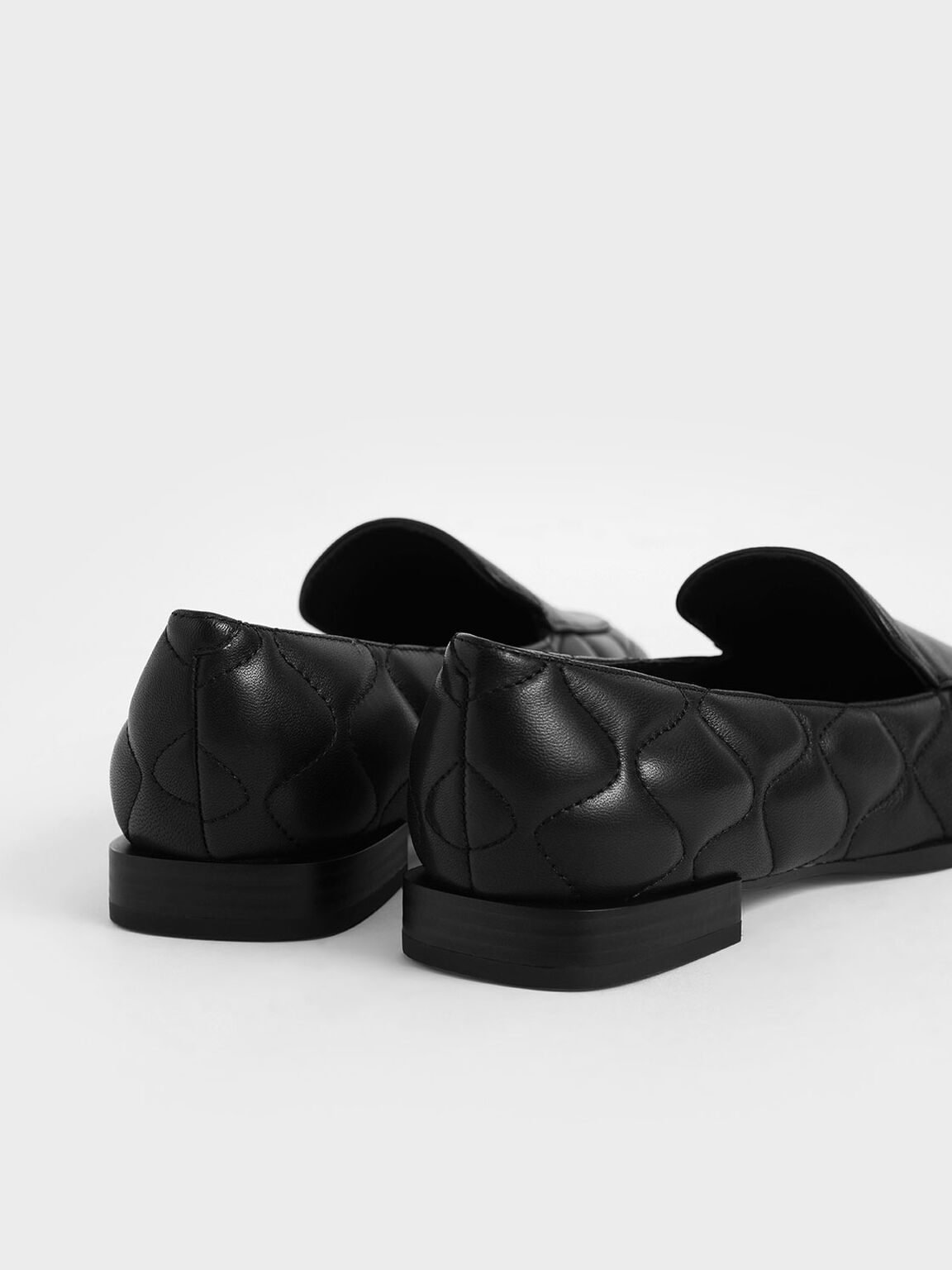 Quilted Leather Loafers, Black, hi-res