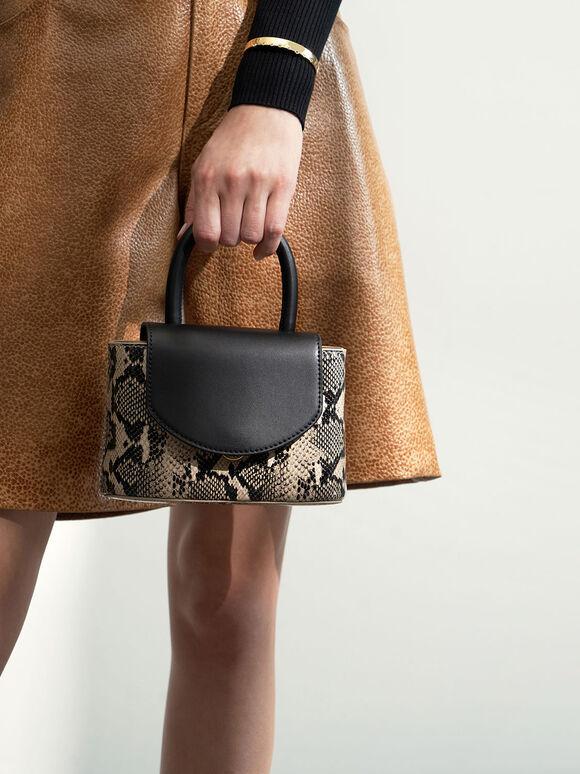 Snake Print Leather Cylinder Bag, Black, hi-res