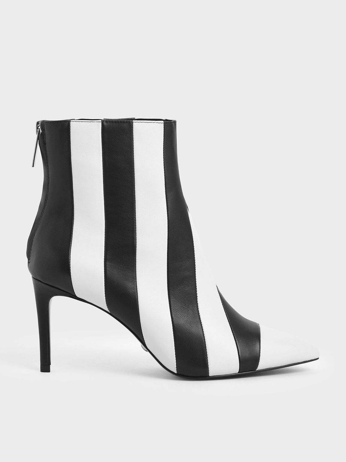 Two-Tone Leather Striped Ankle Boots, Multi, hi-res