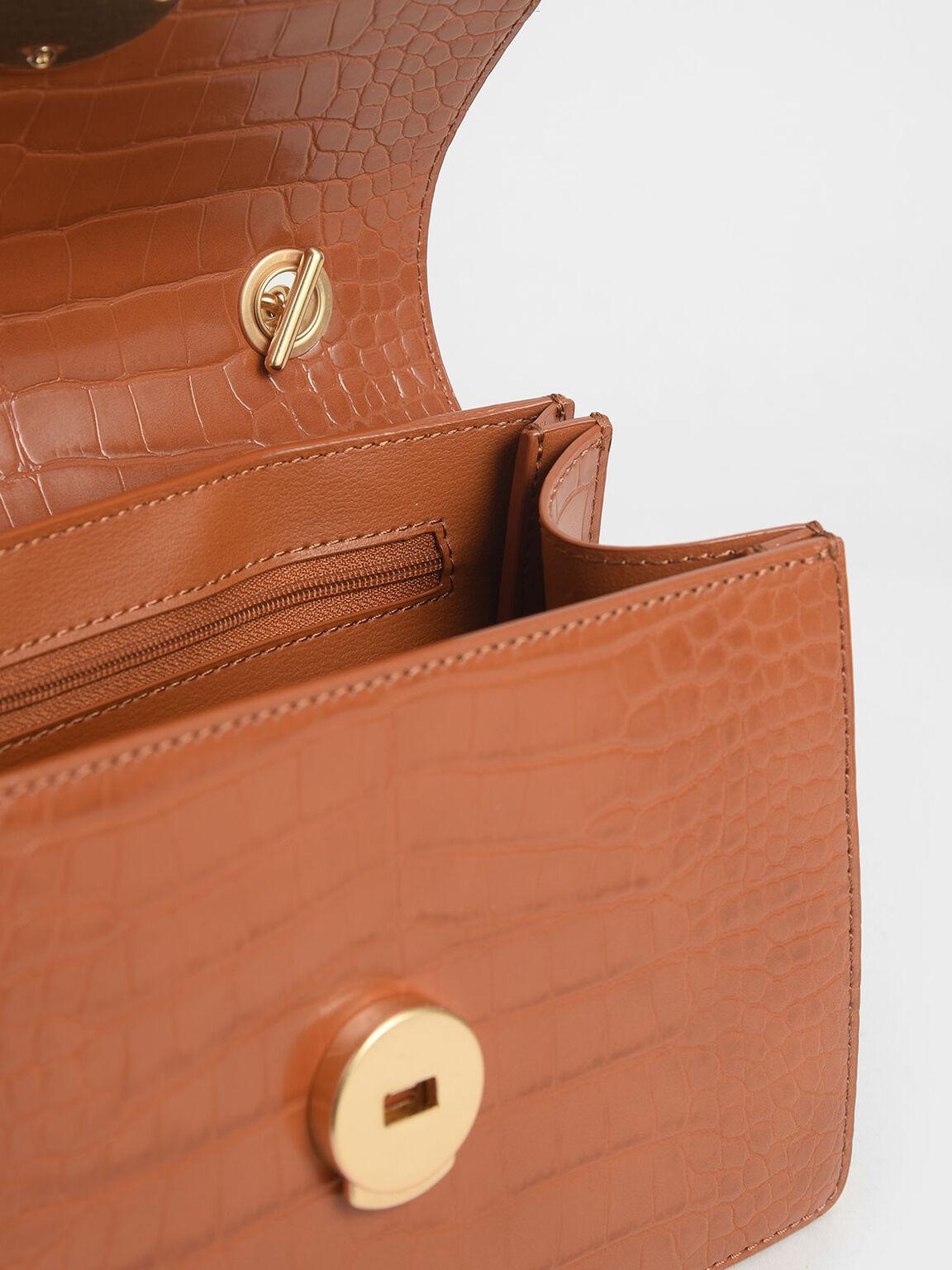 Croc-Effect Chain Link Crossbody Bag, Cognac, hi-res
