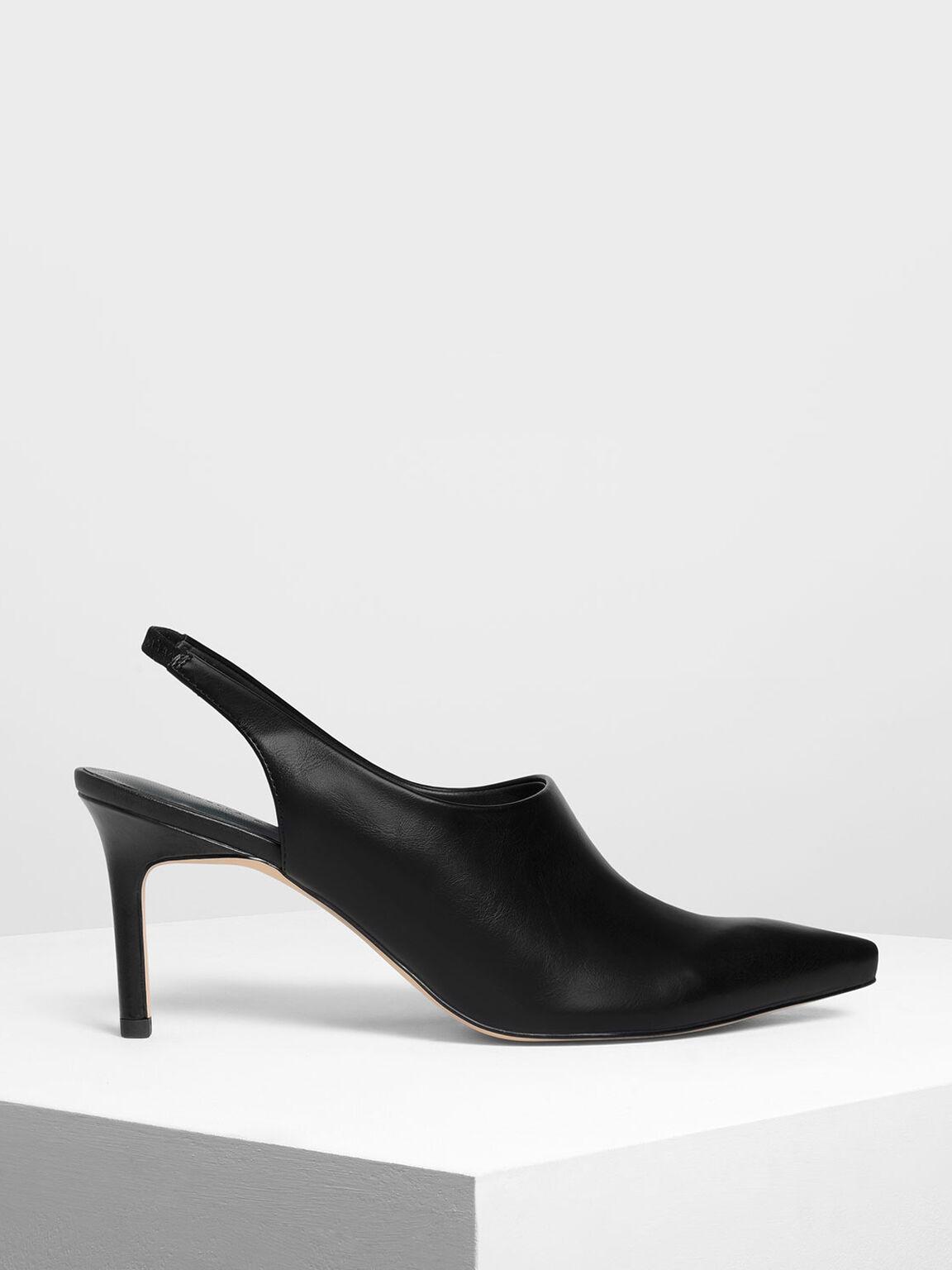 Slingback Pointed Heels, Black, hi-res