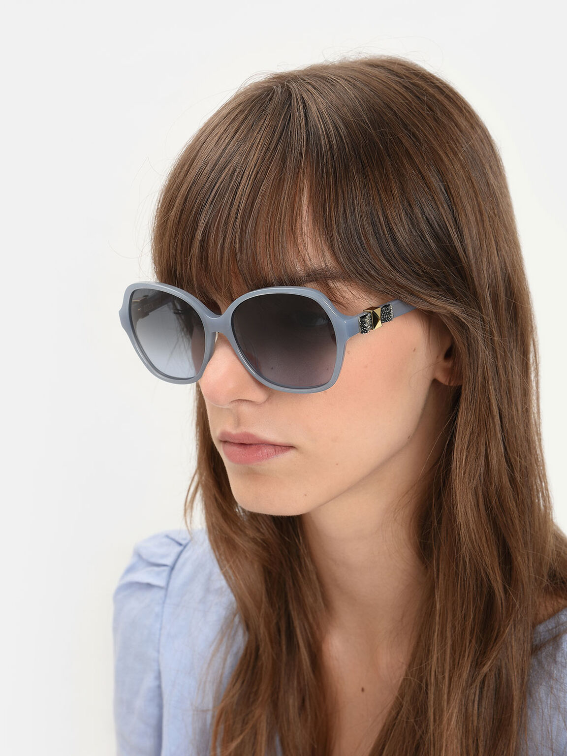 Embellished Butterfly Sunglasses, Blue, hi-res