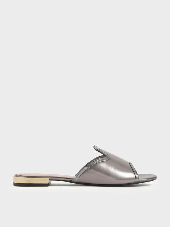 Mirror Metallic Slide Sandals, Pewter, hi-res