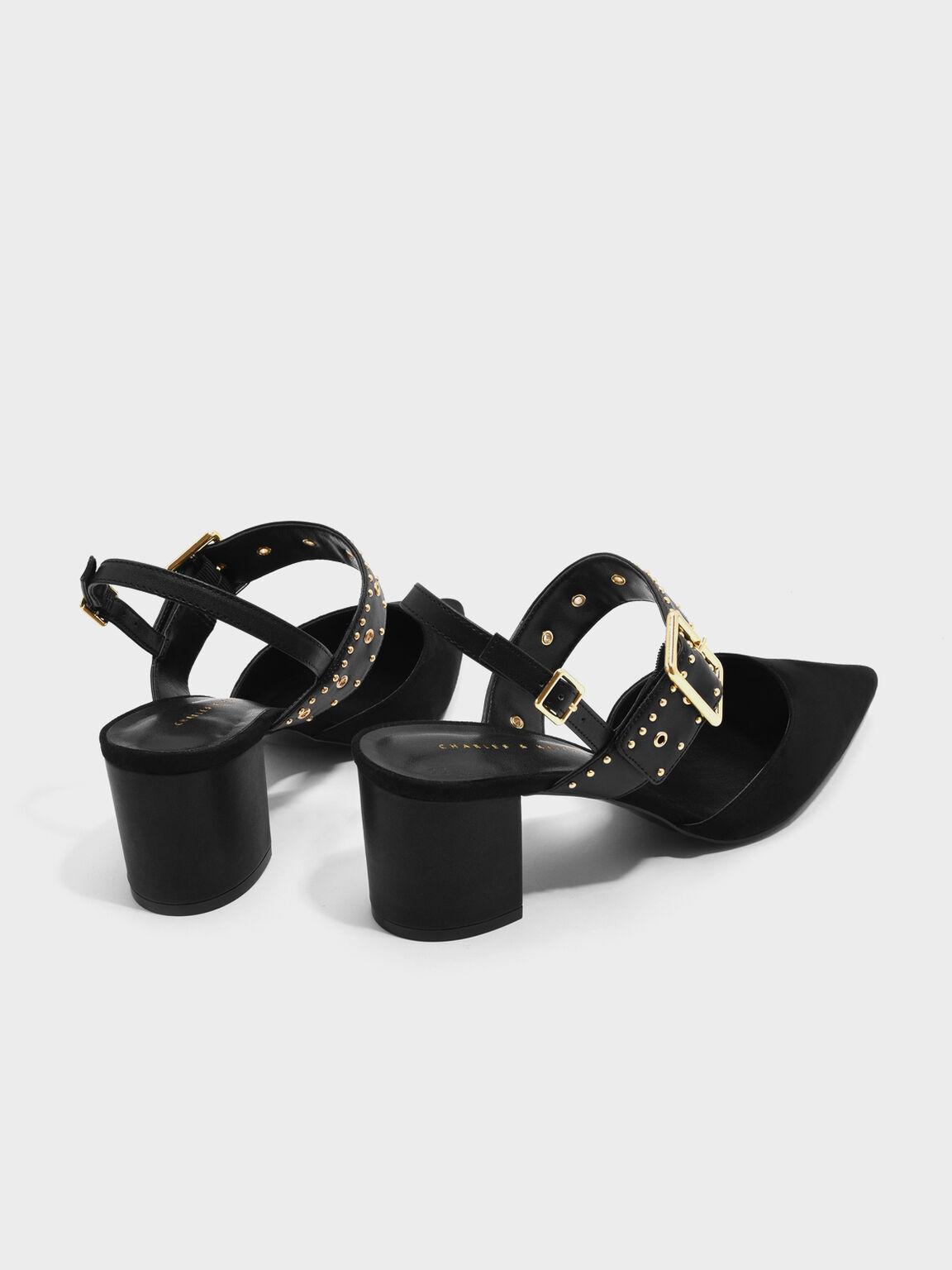 Studded Pointed Slingbacks, Black, hi-res