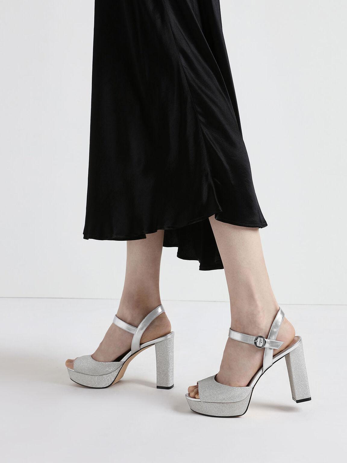Glitter Platform Heels, Silver, hi-res