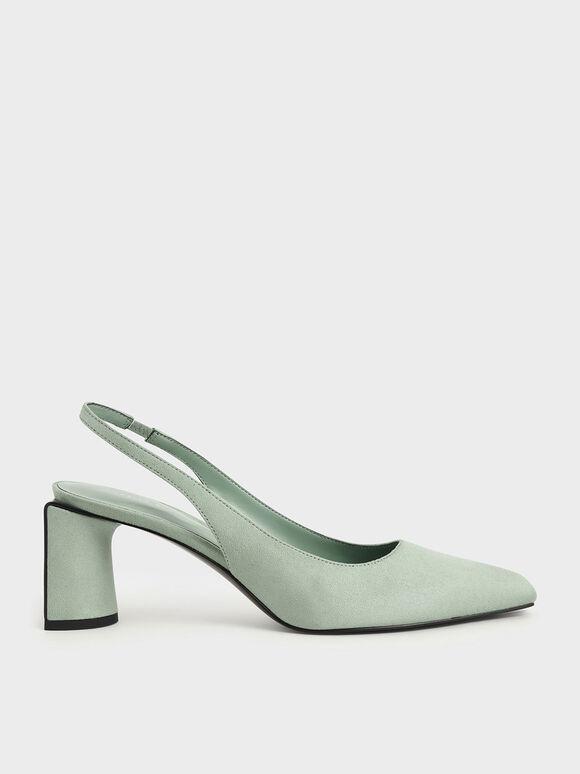 Textured Half Moon Slingback Court Shoes, Mint Green, hi-res