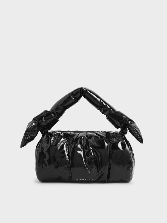 Patent Knotted Shoulder Bag, Black, hi-res