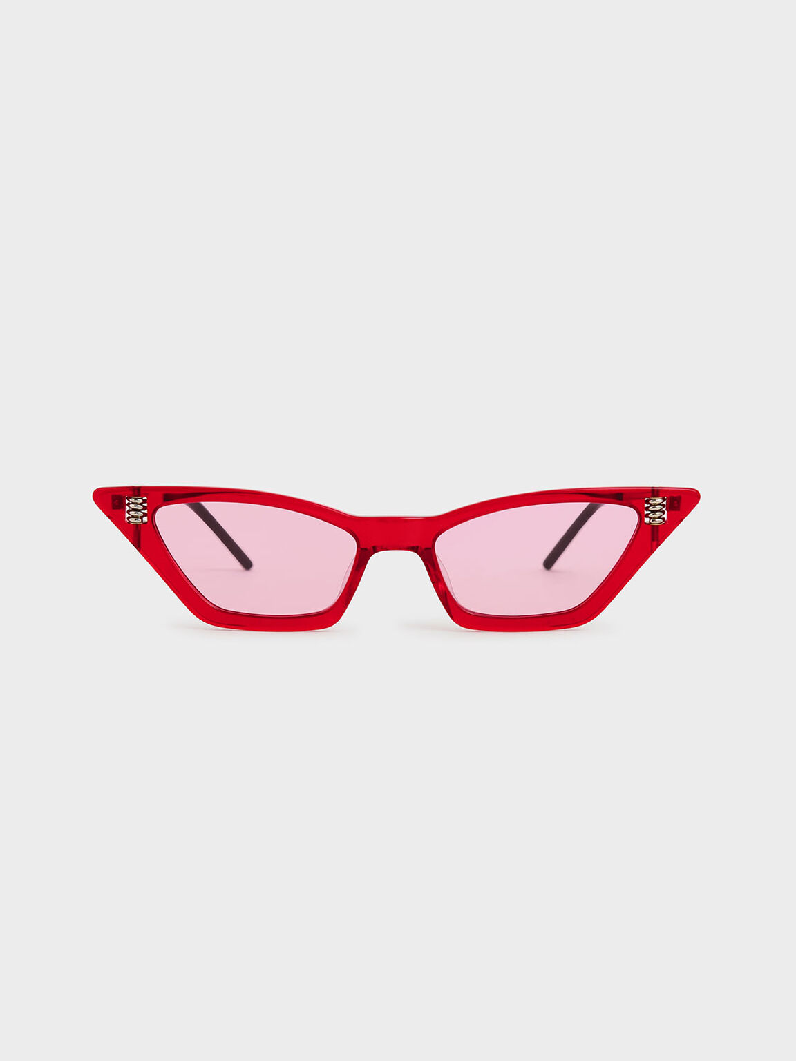 Thick Frame Cat-Eye Sunglasses, Red, hi-res