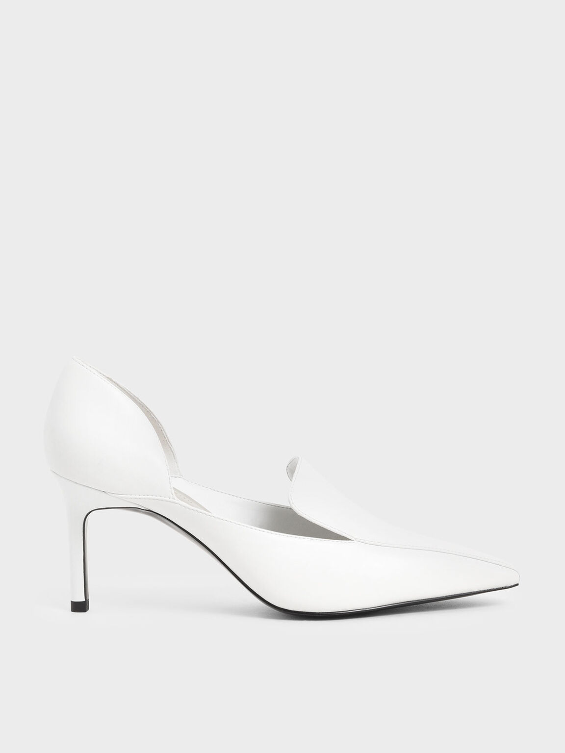 D'Orsay Loafer Pumps, White, hi-res