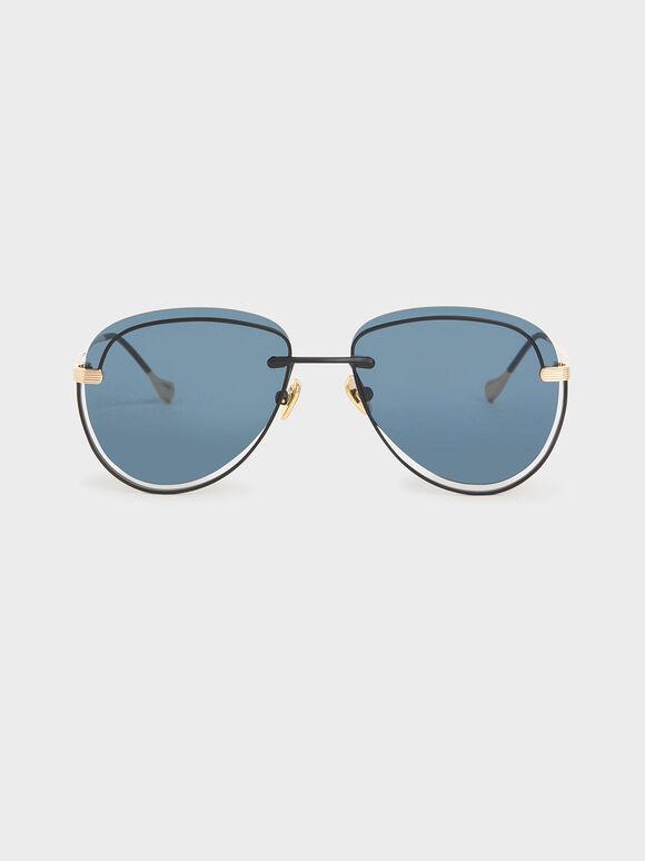 Cut-Out Tinted Sunglasses, Dark Blue, hi-res