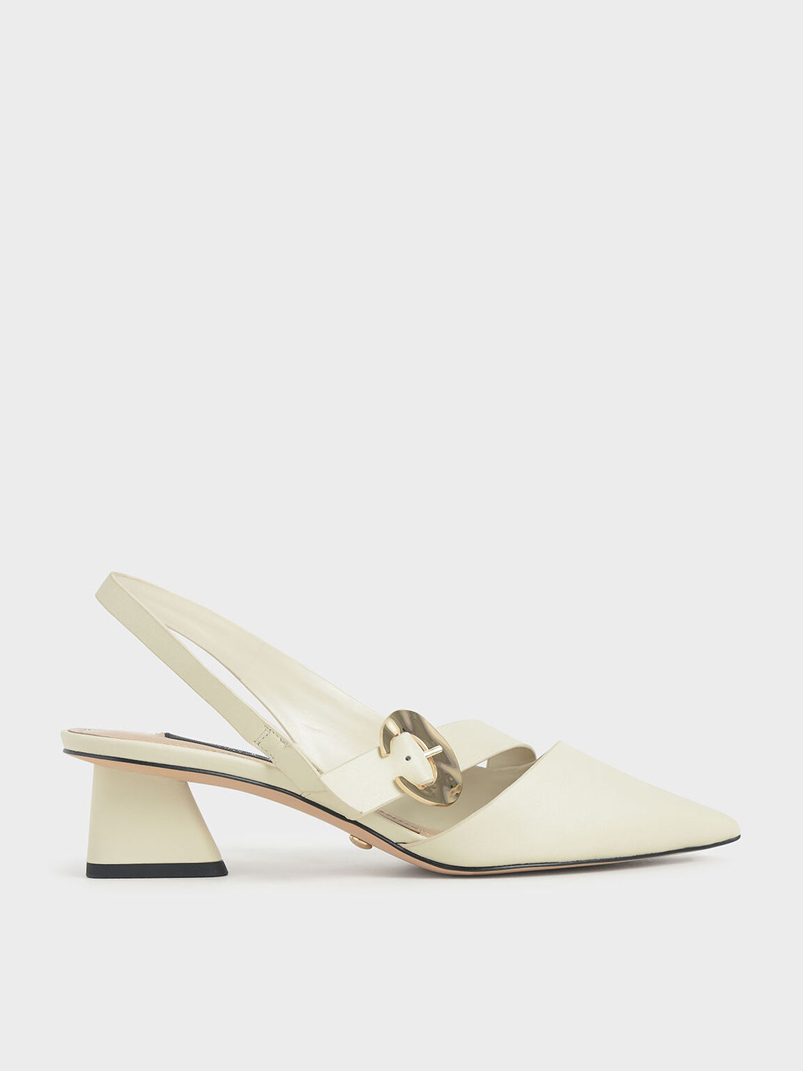 Leather Hammered Buckle Slingback Pumps, Chalk, hi-res