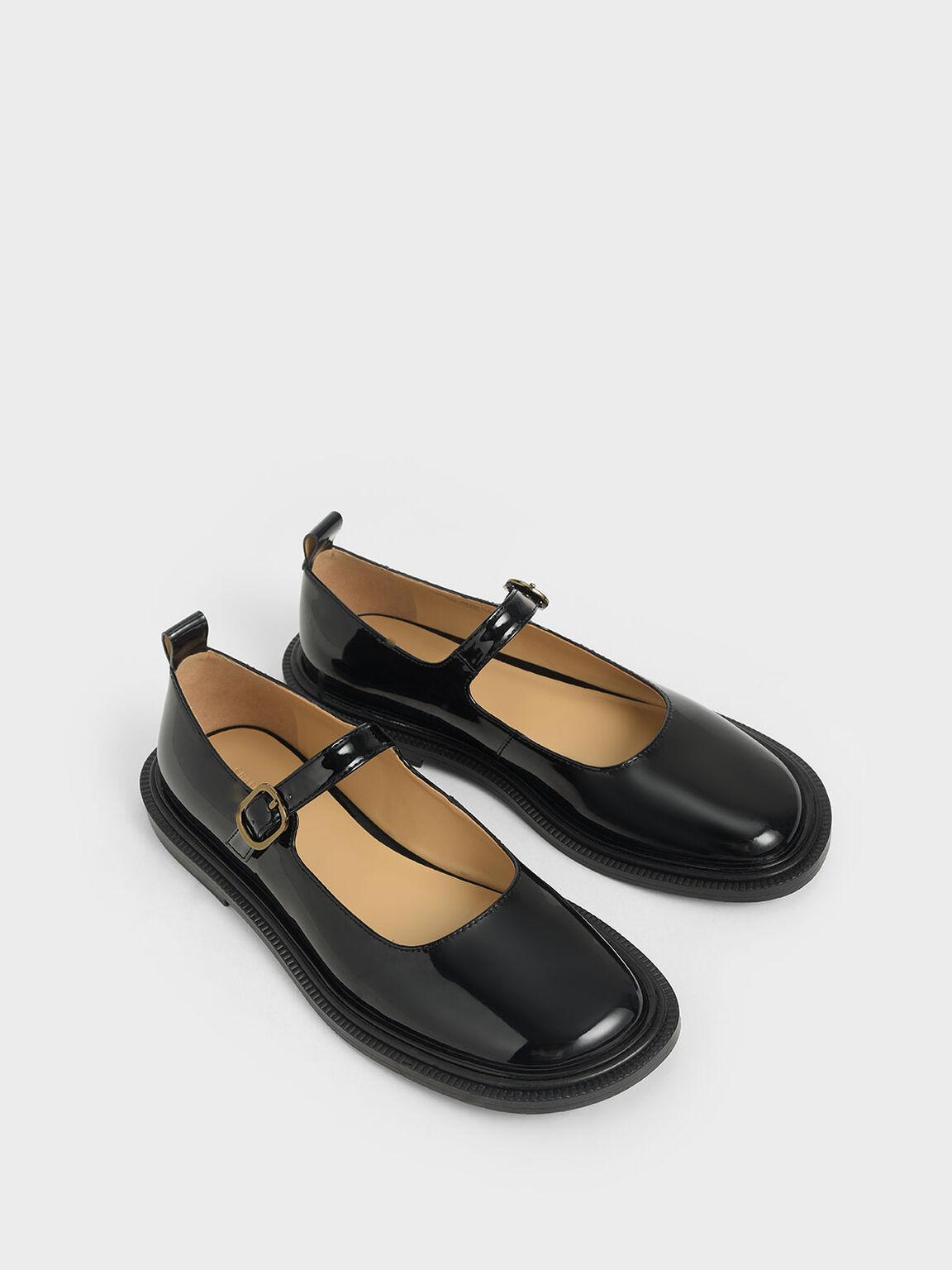 Patent Mary Jane Flats, Black, hi-res