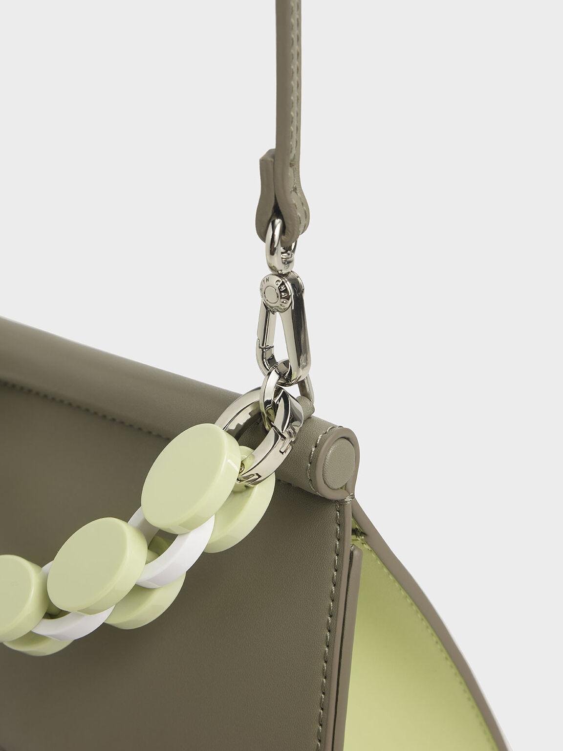 Acrylic Handle Sculptural Bag, Grey, hi-res