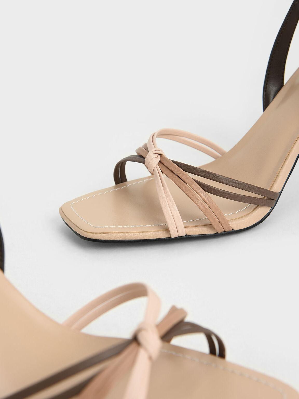 Strappy Slingback Heeled Sandals, Nude, hi-res