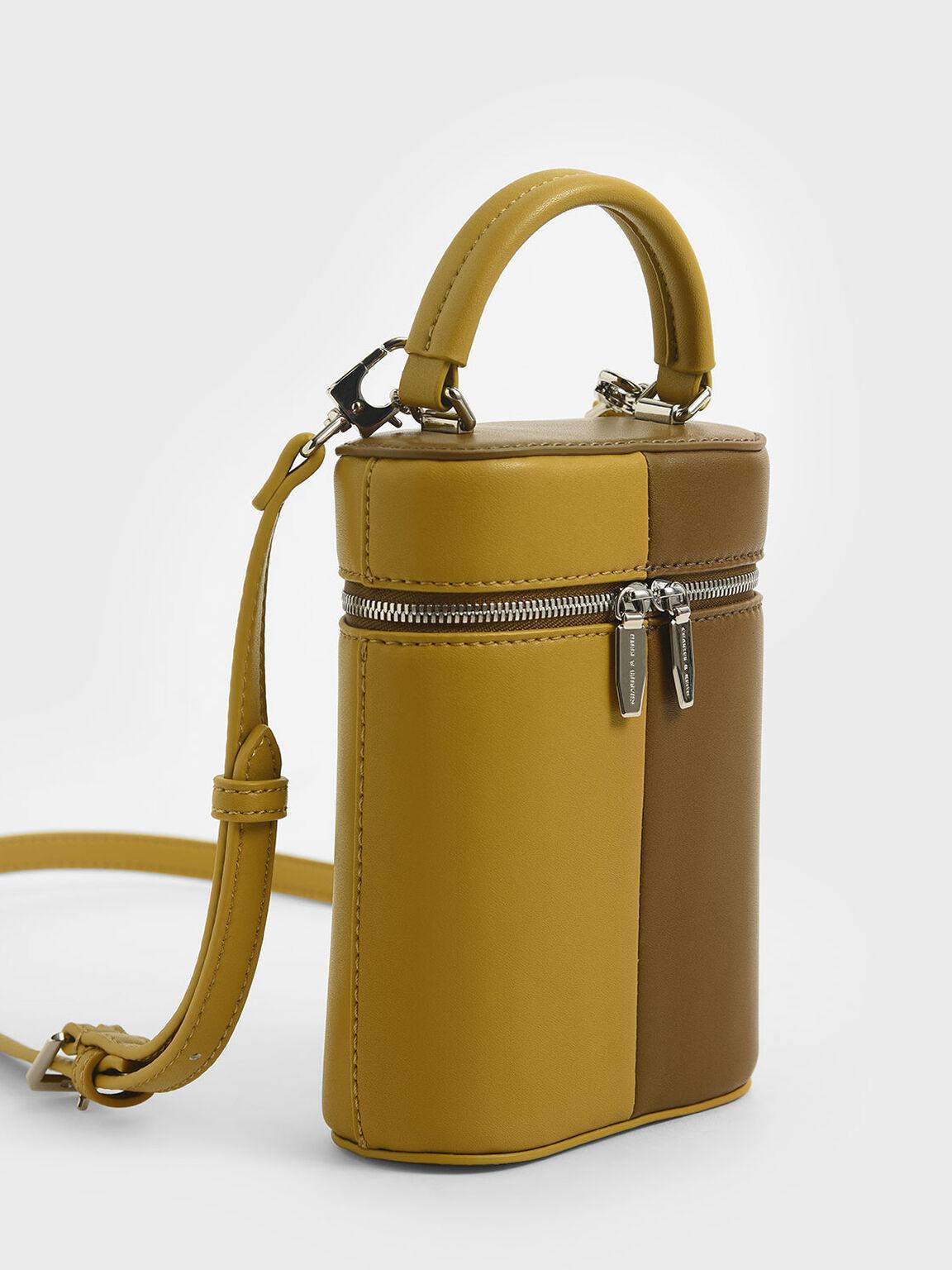 Two-Tone Two-Way Zip Bucket Bag, Olive, hi-res