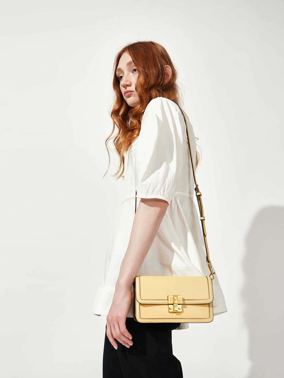 Stone-Embellished Clutch, Yellow, hi-res