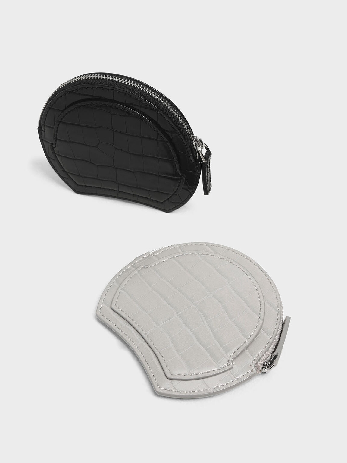 Semi Circle Croc-Effect Mini Pouch, Grey, hi-res