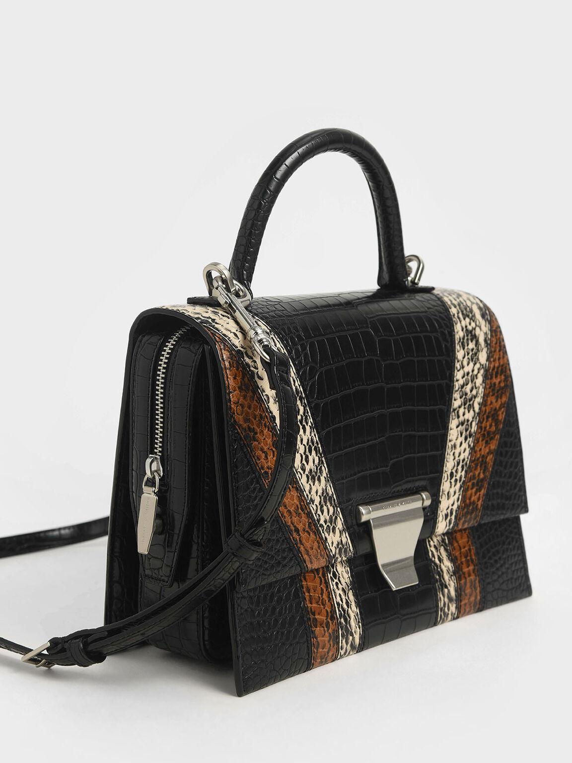 Snake Print Metal Push-Lock Top Handle Bag, Multi, hi-res