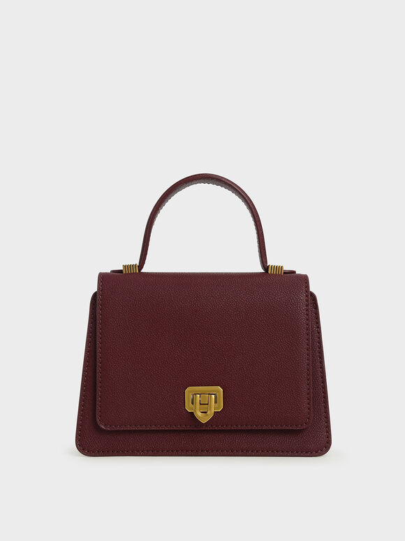 Metallic Push-Lock Top Handle Bag, Burgundy, hi-res