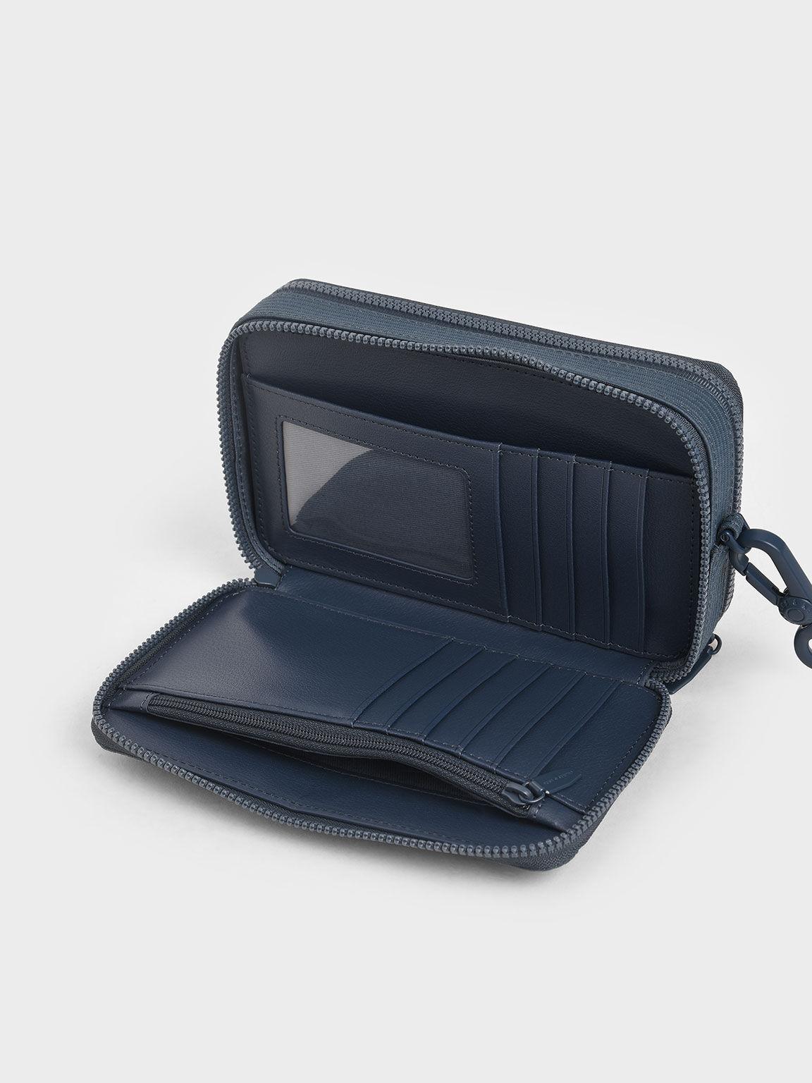 Grosgrain Stitch Trim Long Wallet, Blue, hi-res