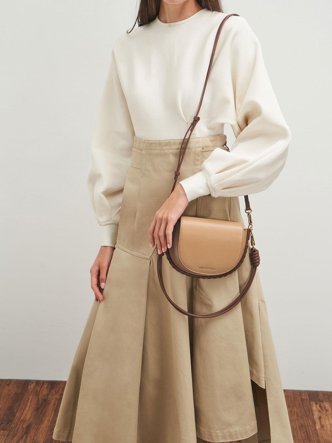 Stitch Trim Saddle Bag, Camel, hi-res