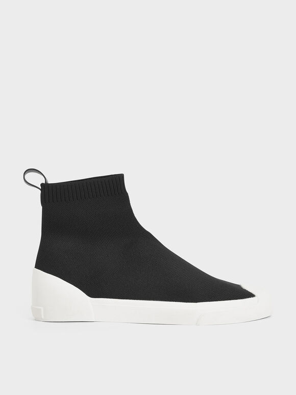Knitted High Top Slip-On Sneakers, Black, hi-res