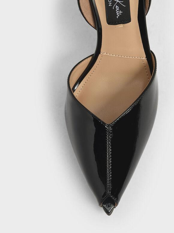 Leather Peep-Toe D'Orsay Pumps, Black, hi-res