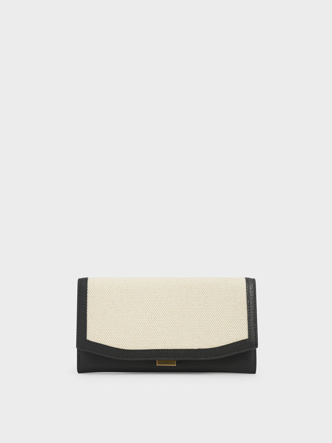 Mini Canvas Long Wallet, Black Textured, hi-res