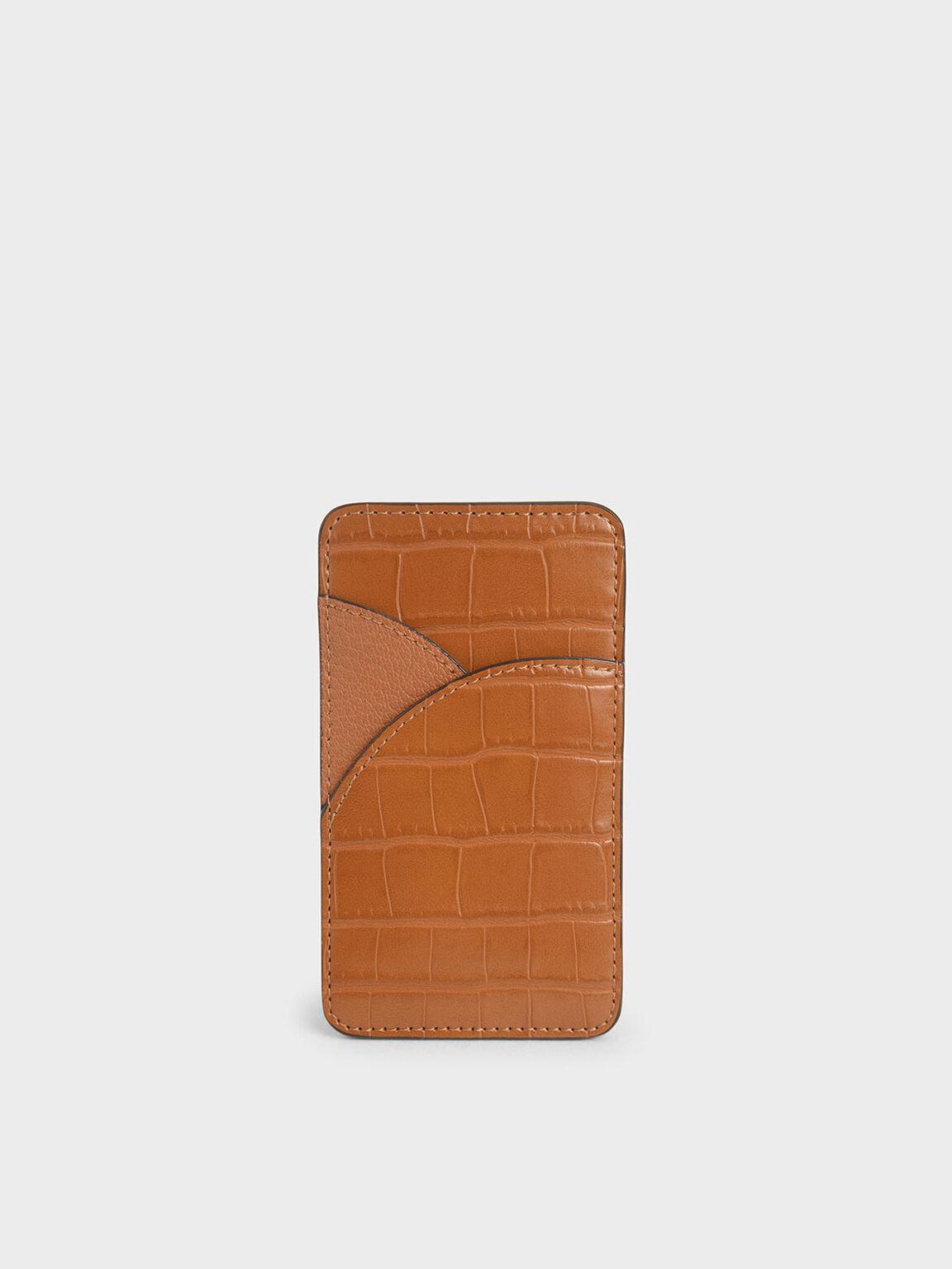Croc-Effect Elongated Card Holder, Cognac, hi-res