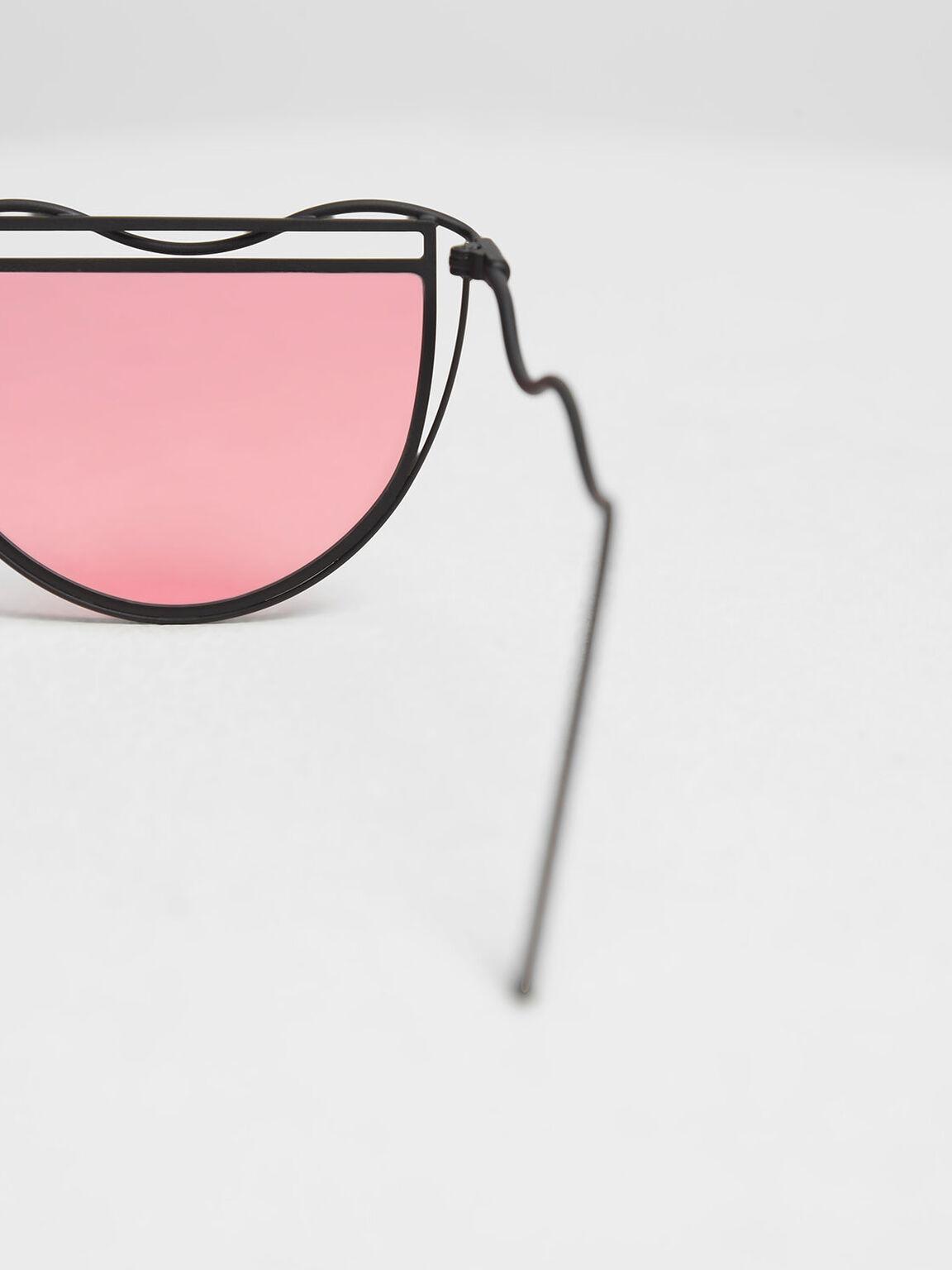 Drop Temple Semi-Circle Sunglasses, Red, hi-res