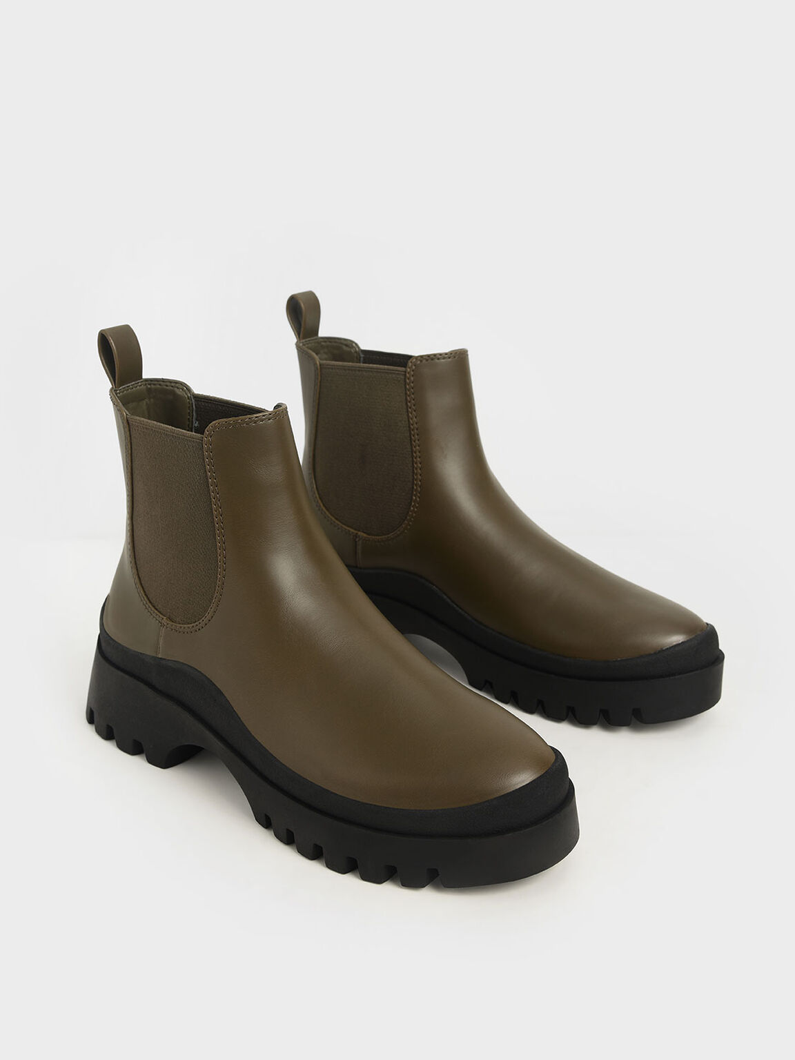 Chunky Chelsea Boots, Olive, hi-res