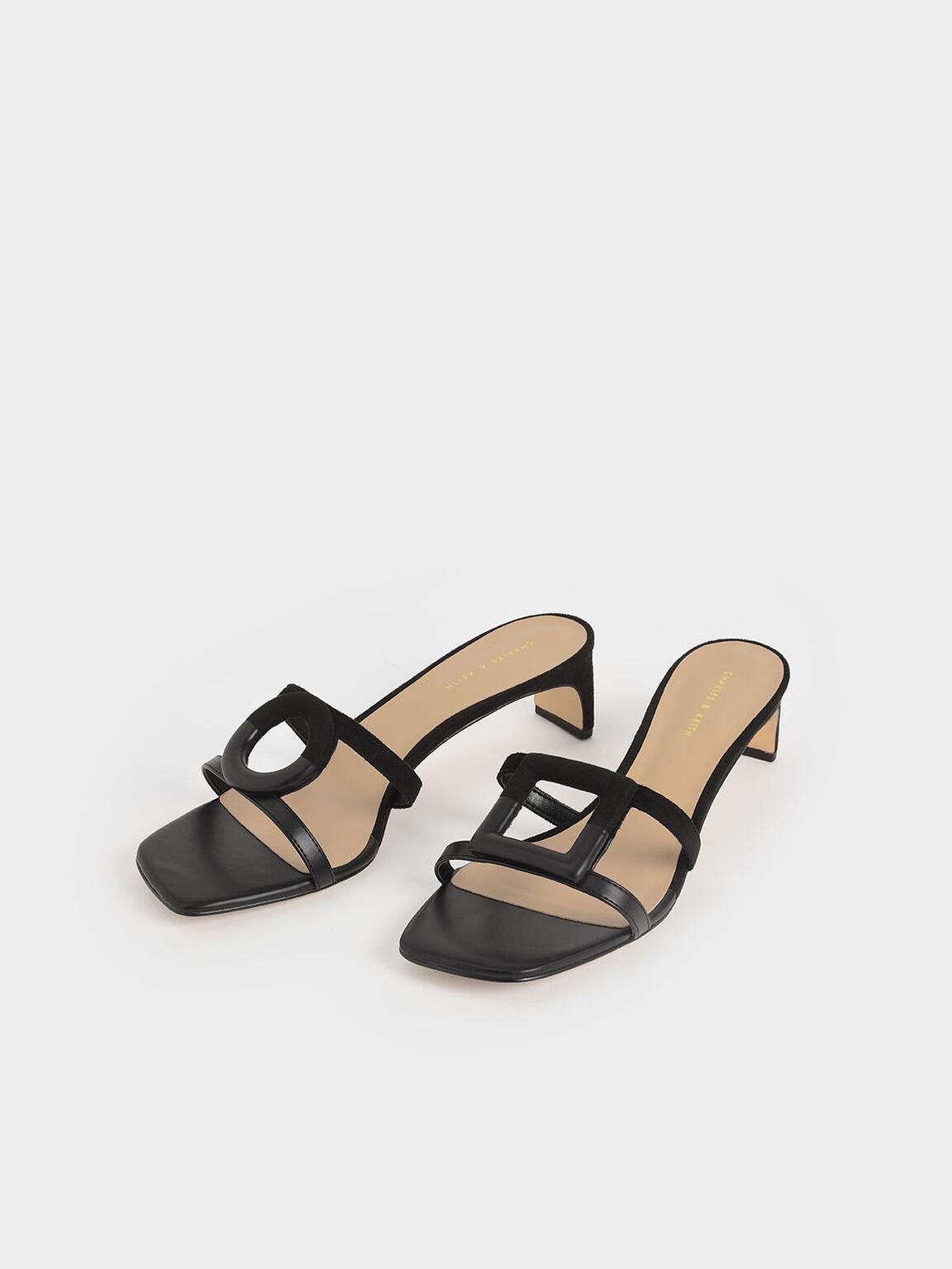 Mismatched Blade Heel Sandals, Black, hi-res