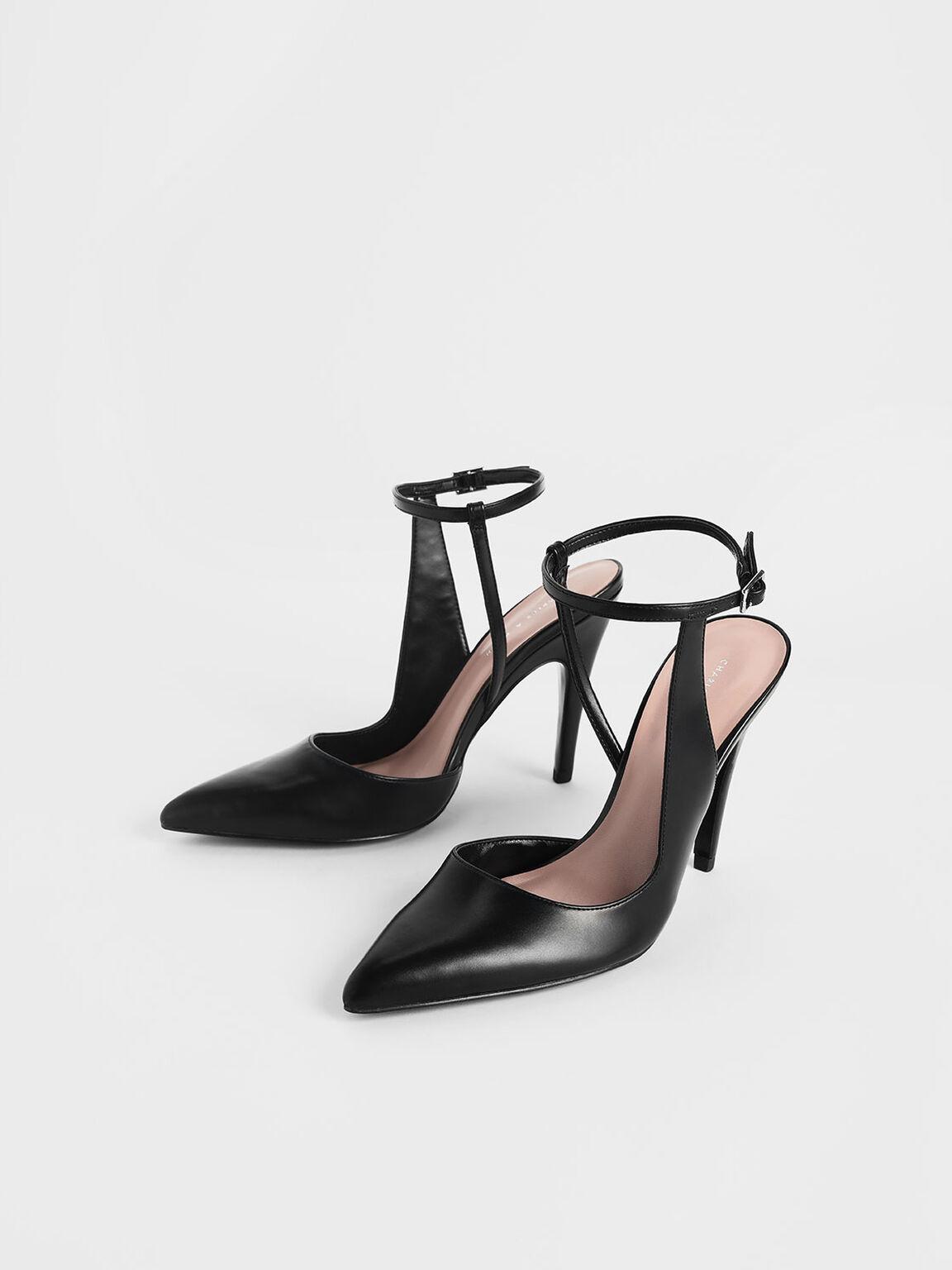 Side Strap Pointed Stiletto Heels, Black, hi-res