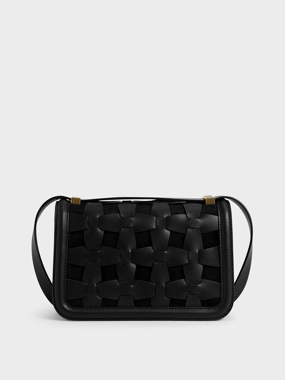 Weave Detail Shoulder Bag, Black, hi-res