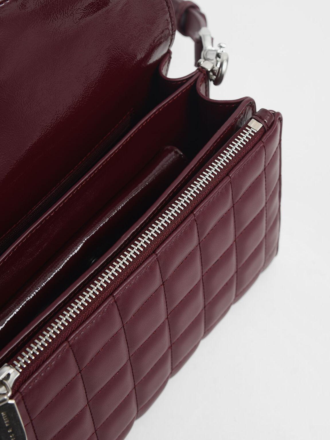 Removable Quilted Pouch Boxy Shoulder Bag, Burgundy, hi-res