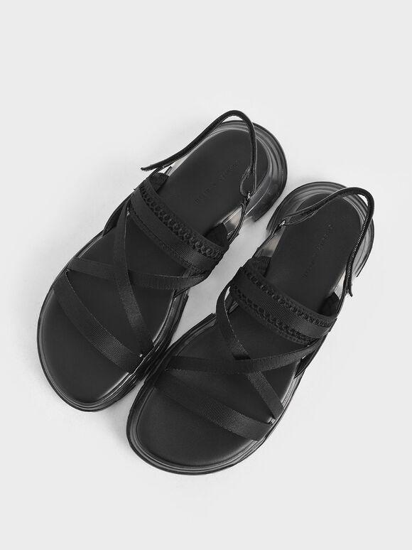 Grosgrain Strappy Flatform Sandals, Black, hi-res