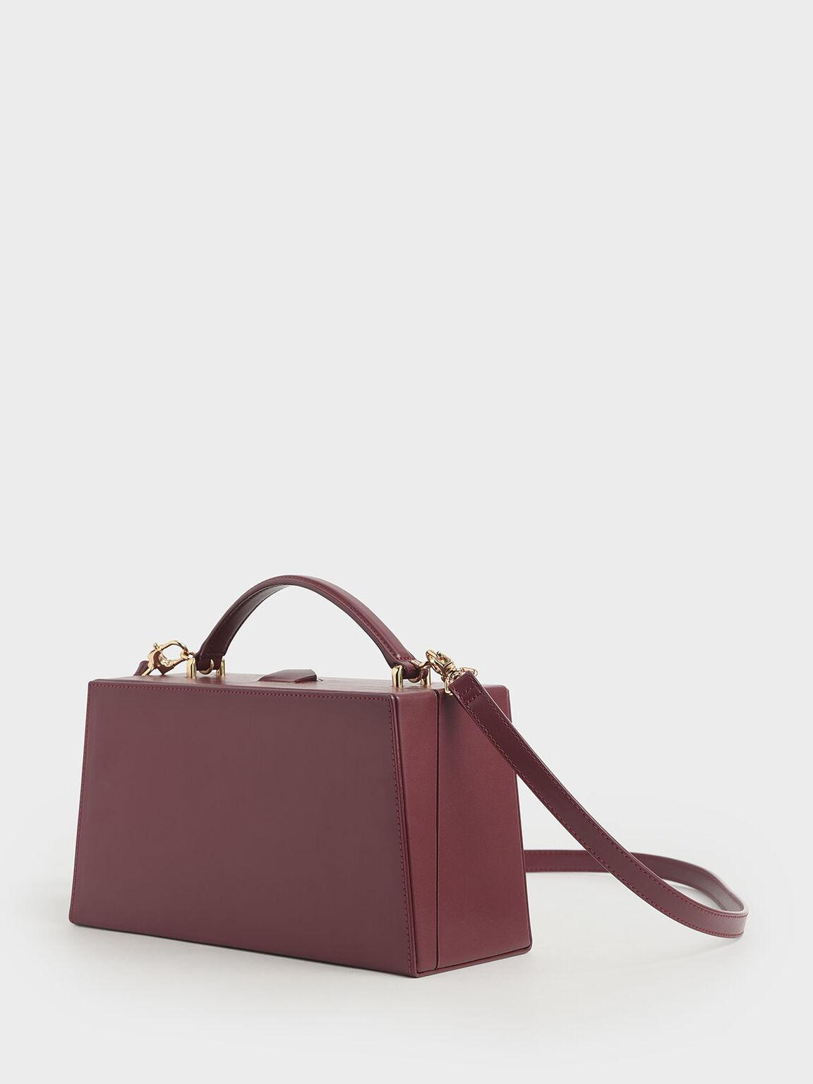 Rectangular Top Handle Bag, Burgundy, hi-res