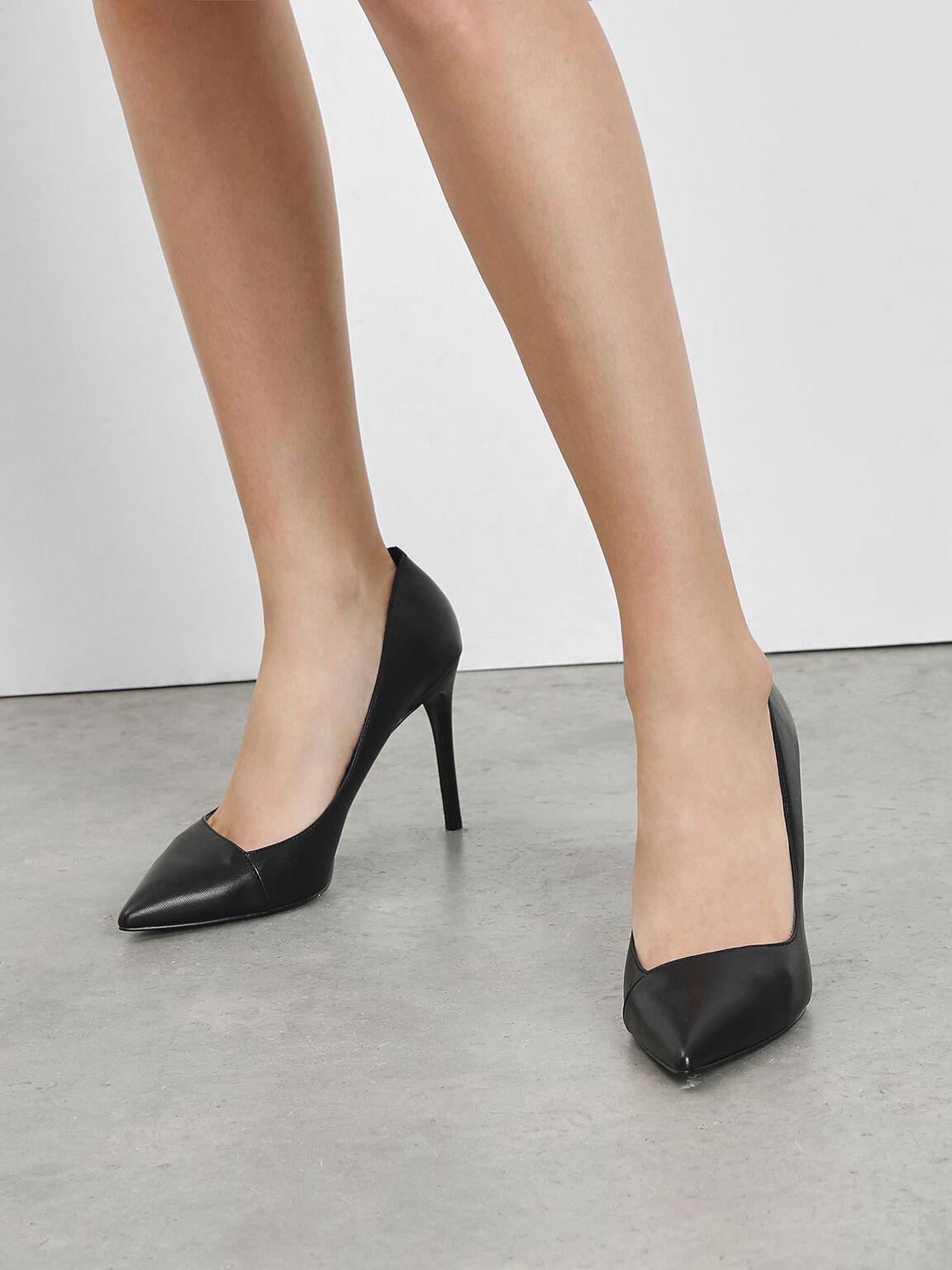 Asymmetrical Cut Stiletto Pumps, Black, hi-res