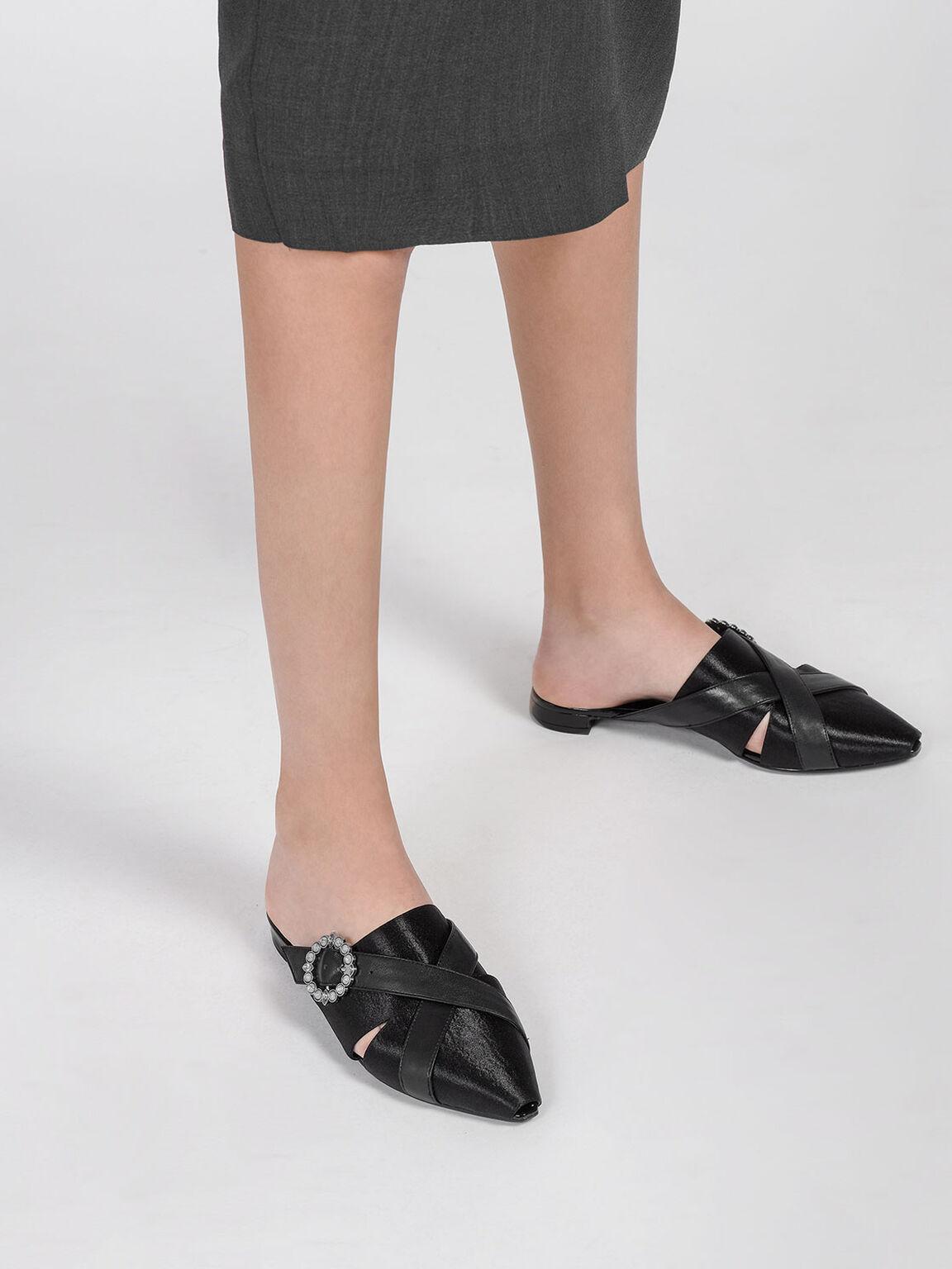 Embellished Buckle Mules, Black, hi-res