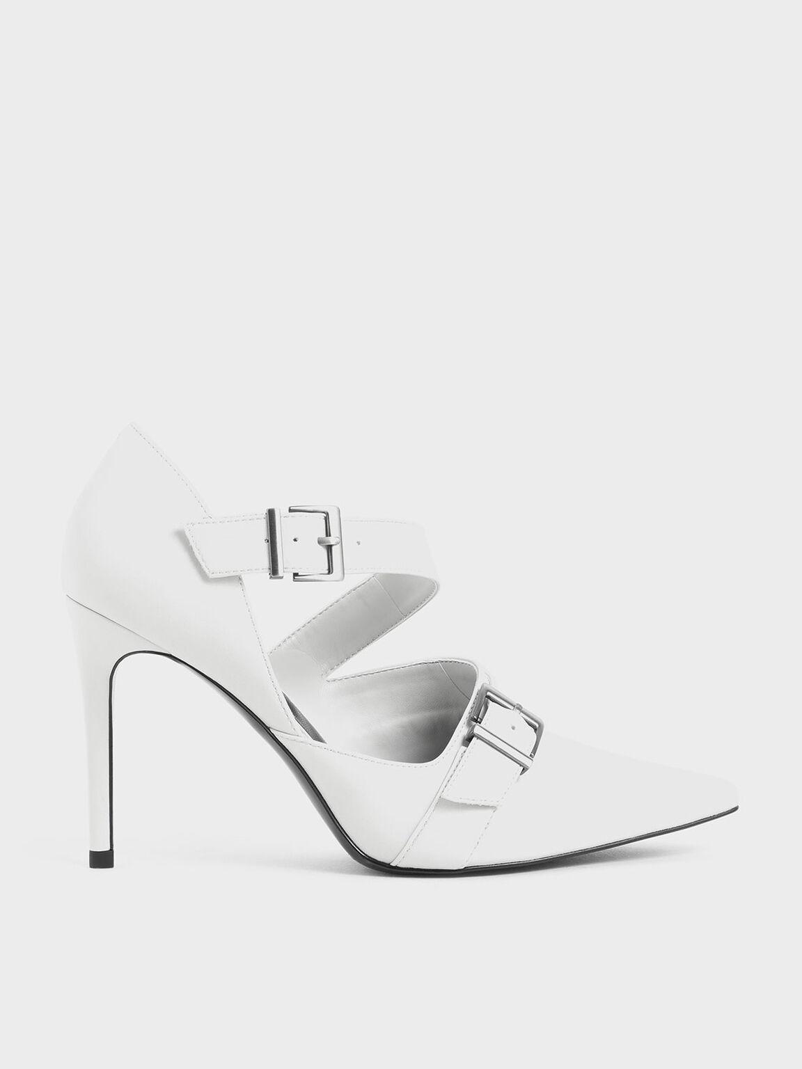 Strappy D'Orsay Stiletto Pumps, White, hi-res