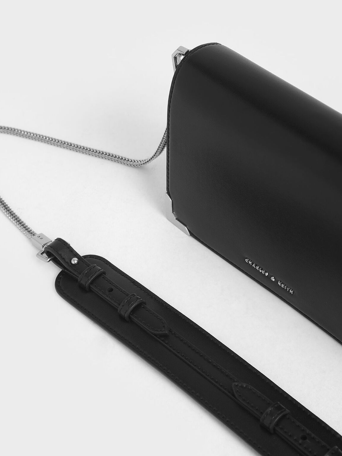 Metallic Edge Crossbody Bag, Black, hi-res